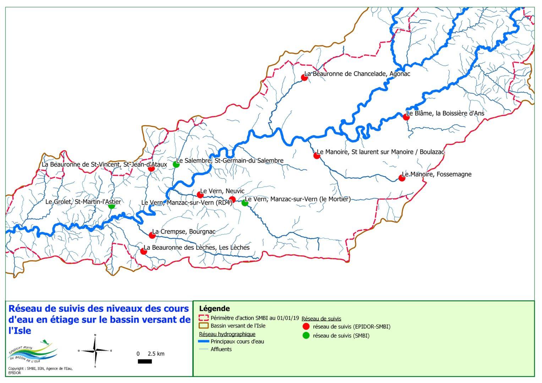 Suivis des débits du bassin de l'Isle en étiage