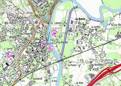 L'isle avec le canal à Saint-Astier actuellement (IGN, 2020)