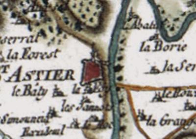 L'isle sans le canal à Saint-Astier au XVIIIe siècle (carte de Cassini, IGN)
